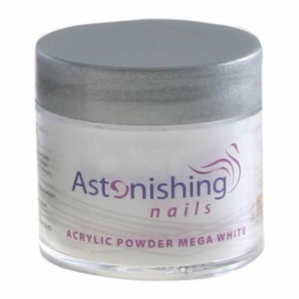 Acrylic Powder Mega White 25g - extra bílý akrylový pudr